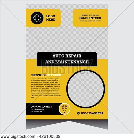 Repair And Servicing Flyer Vector Design Template