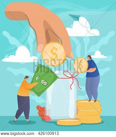 Open Bank Deposit. Two Girls Put Coins And Banknotes In A Large Glass Jar. The Hand Saves And Saves