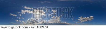 Panorama Of Beautiful Blue Sky With Clouds During Sunset. Seamless 360 Degree Panorama