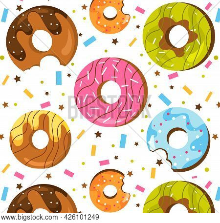 Summer Pattern With Donuts. Delicious Donuts With Multi-colored Glaze And Confetti Of Various Shapes
