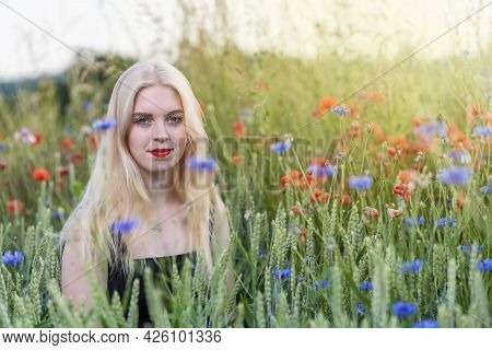 Atractive Young Woman Is Posing In A Cereal Field With Red Poppies And Blue Cornflowers. Horizontall