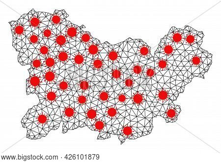 Network Polygonal Map Of Ourense Province Under Infection. Vector Structure Is Created From Map Of O