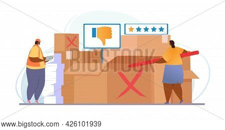 Claim Customer Concept. Two Women Are Sorting Out Return Boxes. Employees Mark Products With Bad Rev