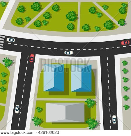 Top View Of The Urban Crossroads With Cars