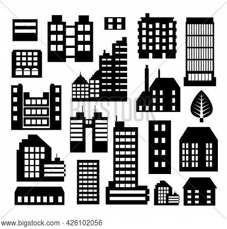 Set Of Silhouettes Architecture Vector Illustration City For Business