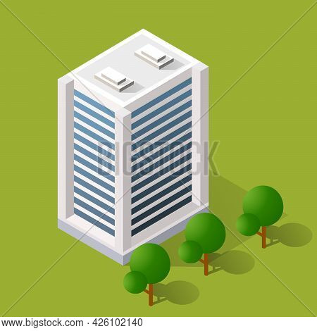 Vector Isometric Urban Architecture Building Of The Modern