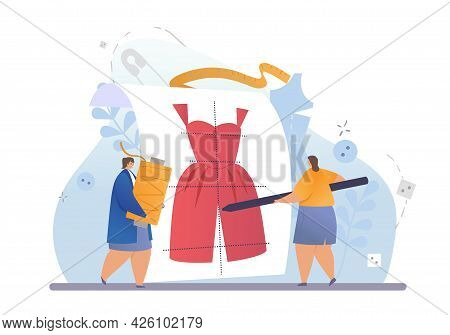 Professional Fashion Designers. Two Girls Make A Sketch Of A Jumpsuit And Prepare Threads For Sewing
