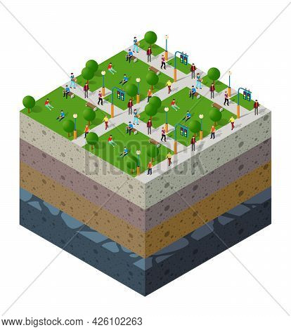 City Park With People Urban Landscape Soil Layers Geological And Underground