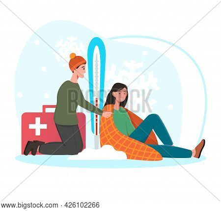 Concept Of Providing First Aid. The Man Covered The Frozen Girl With A Blanket And Set A Thermometer