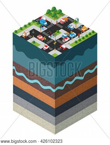 City Crossroads Auto Urban Landscape Soil Layers Geological And Underground