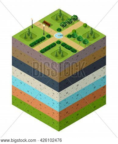 City Park Urban Landscapesoil Layers Geological And Underground