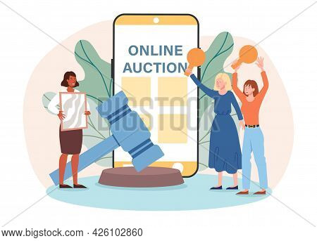 Online Auction Concept. The Presenter Shows A Picture, And The Girls Are Fighting For This Lot. They