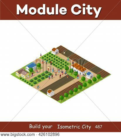 Rural Isometric Nature Ecological Farm With Beds