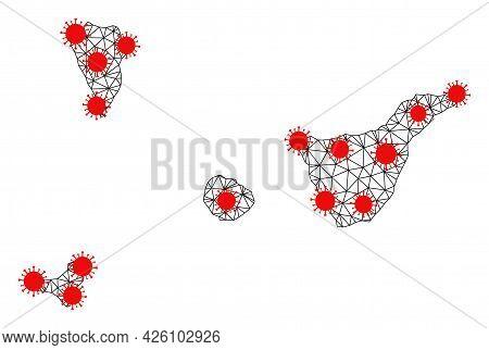 Carcass Polygonal Map Of Santa Cruz De Tenerife Province Under Lockdown. Vector Model Is Created Fro