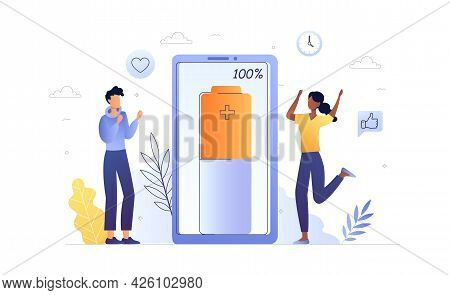 Long Battery Life Concept. A Happy Man And A Woman Are Standing Next To The Phone. Full Battery Char