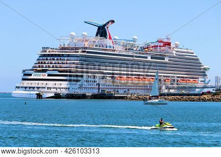 July 6, 2021 In Long Beach, Ca:  Carnival Cruise Ship Docked At The Long Beach, Ca Port Where People