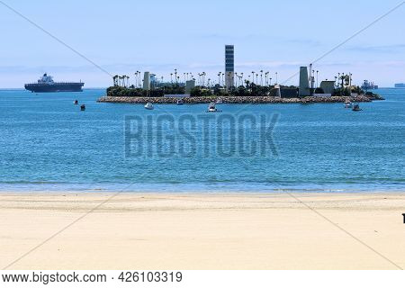 July 6, 2021 In Long Beach, Ca:  Offsore Oil Island Built During The 1960s Where Oil Companies Drill
