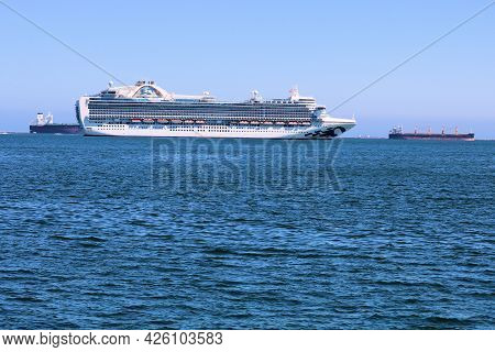 July 6, 2021 In Long Beach, Ca:  Anchored Cruise And Freighter Ships During The Pandemic Slowdown St