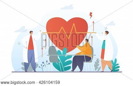 High Blood Pressure Concept. Cardiologists Measure The Patients Blood Pressure. Diagnosis Of Heart A