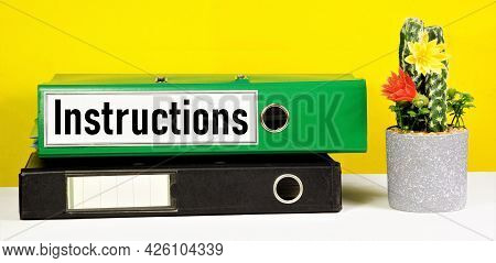 Instructions. A Text Label On The Document Folder. The Content Of The Rules, The Establishment Of Th