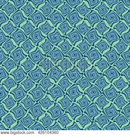Uplifting Ultra Bright Pastel Mint, Green, Blue, Teal, Turquoise Abstract Geometric Wavy Squiggly Tw