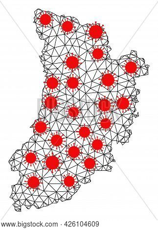 Mesh Polygonal Map Of Lleida Province Under Outbreak. Vector Model Is Created From Map Of Lleida Pro