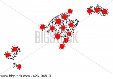 Mesh Polygonal Map Of Balearic Islands Under Infection. Vector Structure Is Created From Map Of Bale