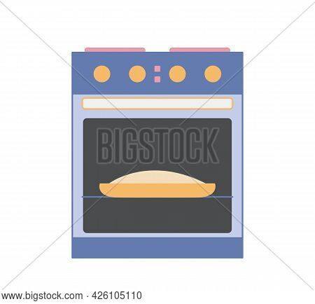 Oven Or Kitchen Oven For Roasting Pies And Meat. Kitchenware. Vector Illustration Of Kitchen Applian