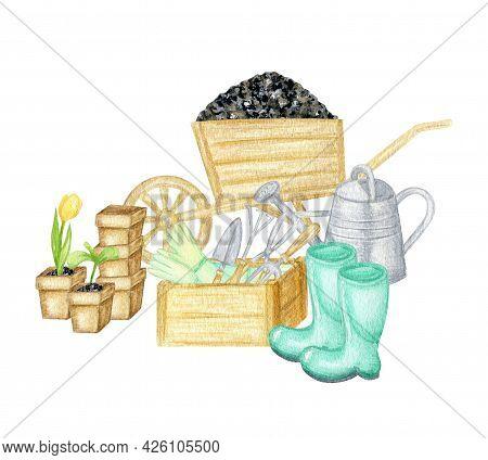 Watercolor Garden Tools. Hand Drawn, Rake, Bucket, Wood Box, Shovel, Watering Can Illustration Isola