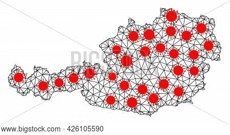 Wire Frame Polygonal Map Of Austria Under Lockdown. Vector Structure Is Created From Map Of Austria