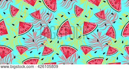 Watermelon Pattern With Leaves. Summer Pattern. Watermelon Background. Vector Seamless Pattern.