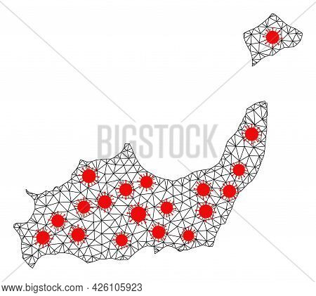 Wire Frame Polygonal Map Of Inagua Islands Under Infection. Vector Model Is Created From Map Of Inag