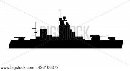 Single Of Silhouettes Of Warships For Design And