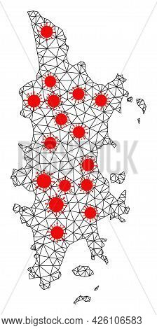 Carcass Polygonal Map Of Phuket Under Outbreak. Vector Model Is Created From Map Of Phuket With Red