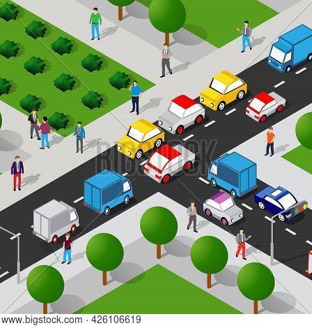 Isometric Street People Crossroads 3d Illustration Of A City