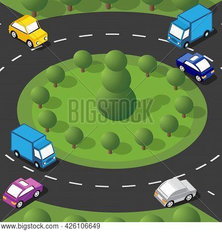 Isometric Street Crossroads 3d Illustration Of The City