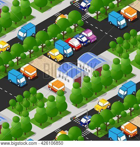 Isometric Street Crossroads 3d Illustration Of A City Block