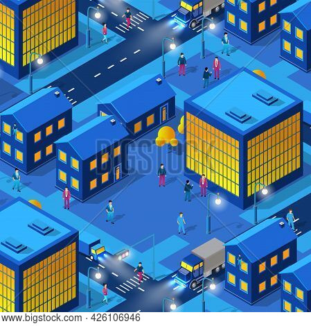 The Night City People Background 3d Neon Ultraviolet