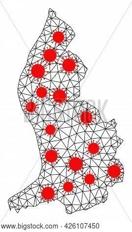 Carcass Polygonal Map Of Liechtenstein Under Outbreak. Vector Model Is Created From Map Of Liechtens