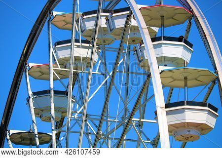 July 6, 2021 In Long Beach, Ca:  Vintage Carousel Built During 1920 Taken At The Pike In Long Beach,