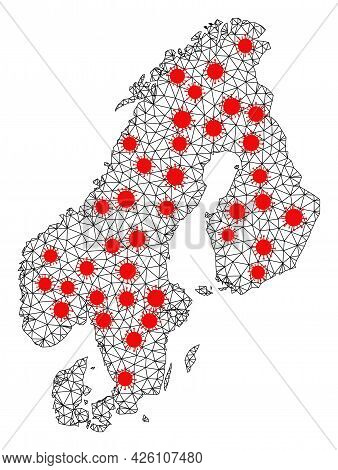 Carcass Polygonal Map Of Scandinavia Under Outbreak. Vector Model Is Created From Map Of Scandinavia