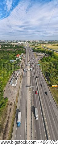 Aerial Wide Vertical Panorama Highway Interchange Multiple Road Interchanges. Traffic Cars Driving O