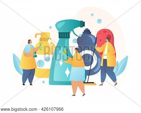 Concept Of Using Cleaning Products. Three Women Are Doing The Cleaning On The Background Of Dishwash