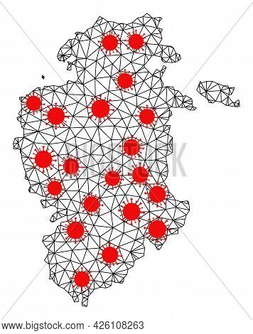 Wire Frame Polygonal Map Of Burgos Province Under Outbreak. Vector Structure Is Created From Map Of
