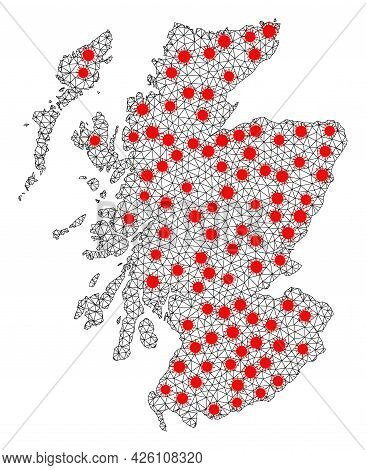 Wire Frame Polygonal Map Of Scotland Under Infection. Vector Structure Is Created From Map Of Scotla