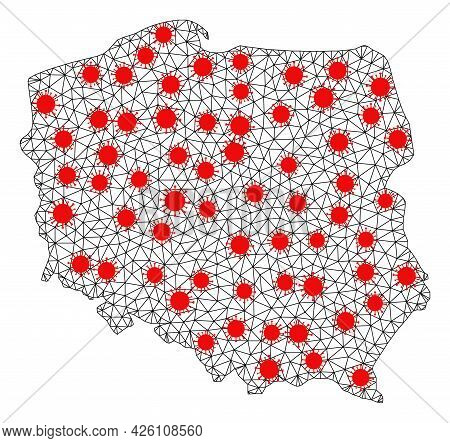 Network Polygonal Map Of Poland Under Lockdown. Vector Structure Is Created From Map Of Poland With