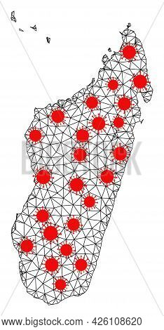 Wire Frame Polygonal Map Of Madagascar Island Under Outbreak. Vector Model Is Created From Map Of Ma