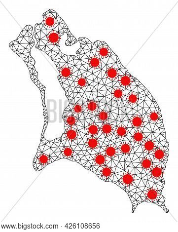 Wire Frame Polygonal Map Of Barbuda Island Under Infection. Vector Model Is Created From Map Of Barb