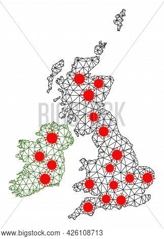 Mesh Polygonal Map Of Great Britain And Ireland Under Lockdown. Vector Structure Is Created From Map
