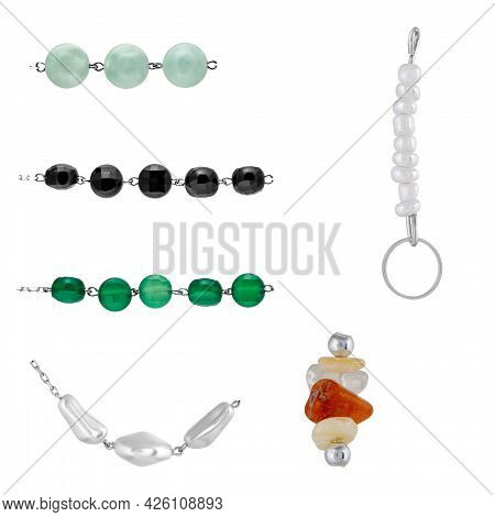 A Set Of Natural Gemstones And Beads For Jewelry And Bijouterie. Template For Designers And Layouts.